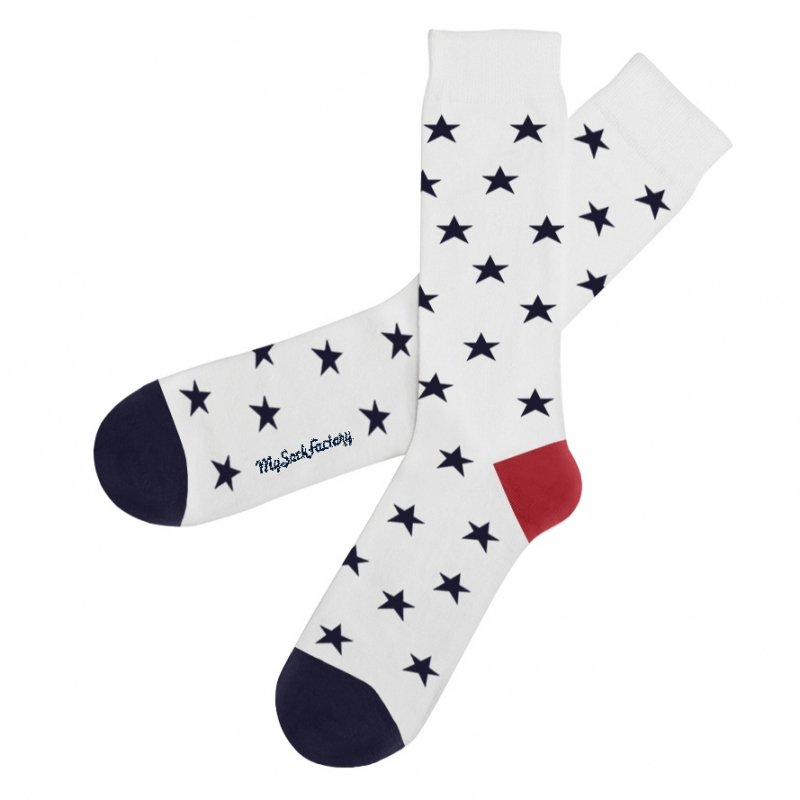 e32018fa4b6 Blue white and red patterned stars socks   cool pattern