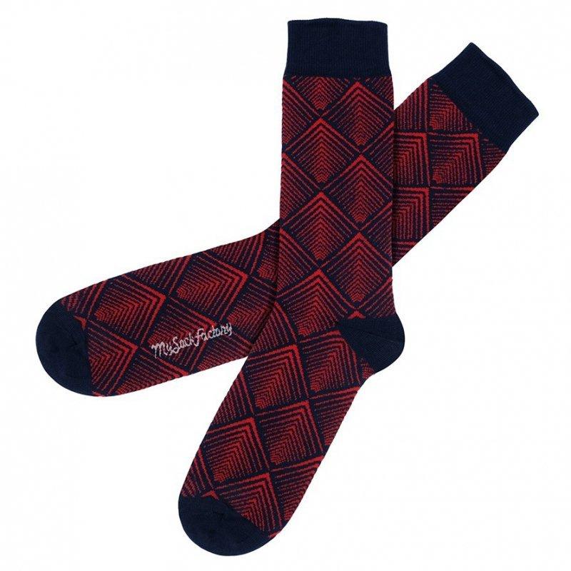 3a4b6dc123e Original midnight blue socks with red geometric patterns  novelty ...